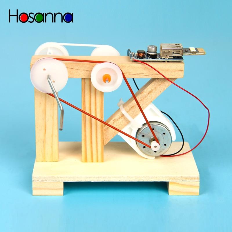 Kids DIY Hand Crank Generator Electric Science Toys Kit Light Up LED Light Wooden Blocks Learning Educational Toys for Children – MegaWorldStore.com