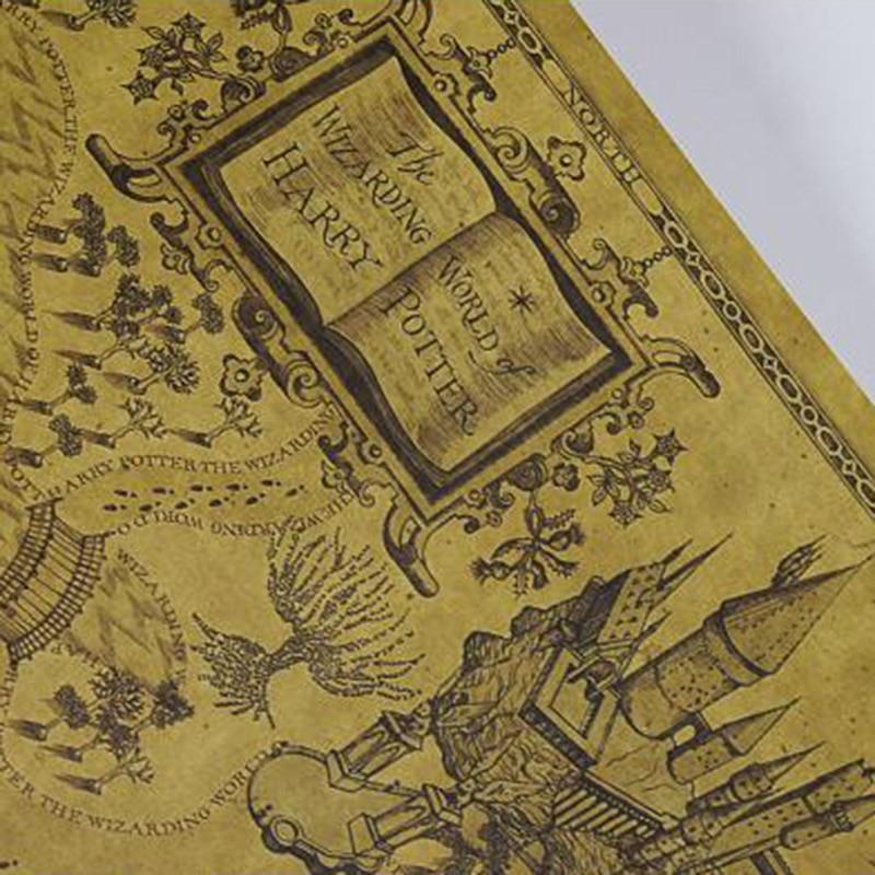 1PC Creative Kraft Paper Maps 26.5cm*72cm Retro Harry Potter Maps For DIY  Decoration Scrapbooking School Supplies Stationery